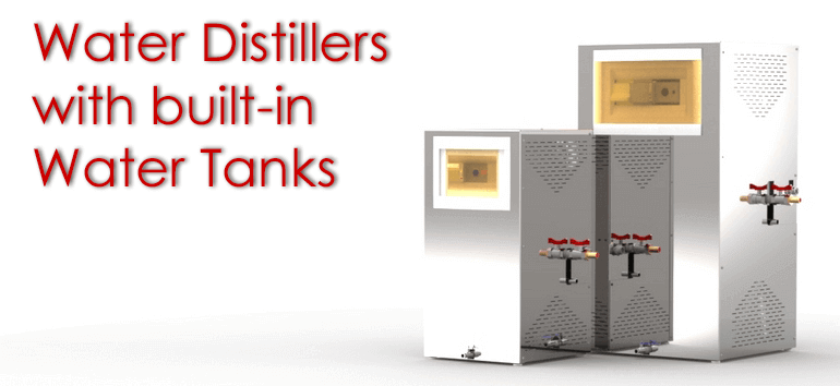 Distiller with built-in tank